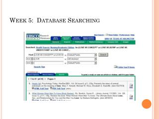 Week 5:  Database Searching