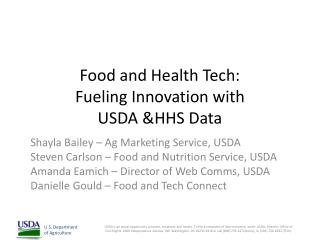 Food and Health Tech: Fueling Innovation with  USDA &HHS Data