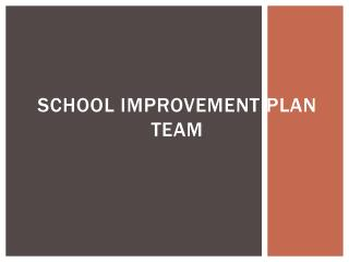 School Improvement  Plan team