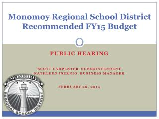 Monomoy Regional School District Recommended FY15 Budget