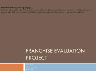 Franchise  Evaluation Project