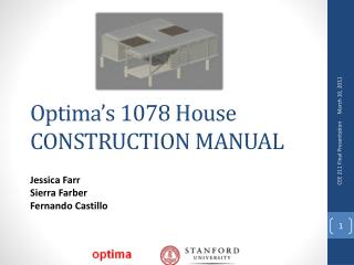 Optima's 1078 House CONSTRUCTION MANUAL