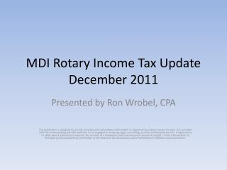 MDI Rotary Income Tax Update December 2011