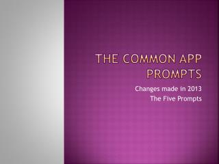 The Common App Prompts