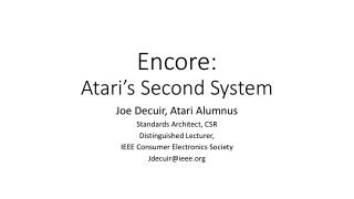 Encore: Atari's Second System