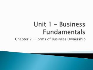 Unit 1 – Business Fundamentals