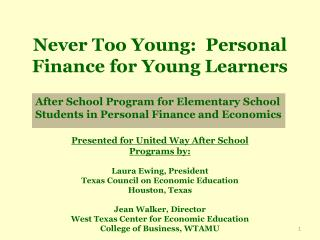 Never Too Young:  Personal Finance for Young Learners