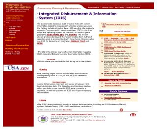 Community  Planning and  Development  Online Systems/  Databases  IDIS