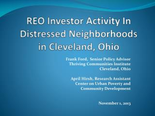 REO Investor Activity In Distressed Neighborhoods in Cleveland, Ohio
