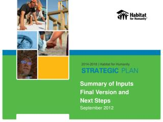 Summary of Inputs Final Version and  Next Steps September 2012