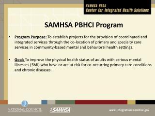 SAMHSA PBHCI  Program