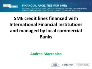 SME credit lines financed with International Financial Institutions and managed by local commercial Banks