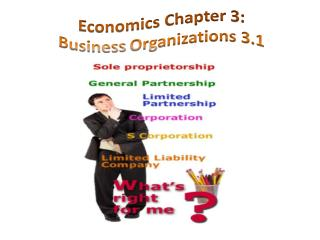 Economics Chapter  3: Business  Organizations 3.1