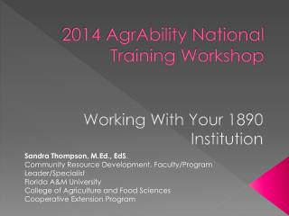 2014  AgrAbility  National Training Workshop