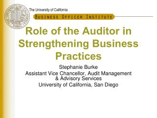 Role of the  Auditor in Strengthening Business Practices