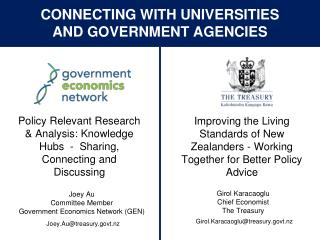 Connecting with Universities  and Government Agencies
