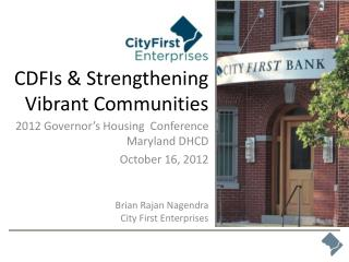 CDFIs & Strengthening Vibrant Communities