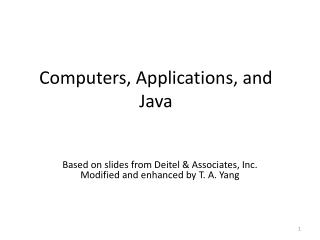Computers, Applications, and Java