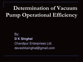 determination of vacuum pump operational efficiency