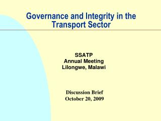 Governance and Integrity in the Transport Sector