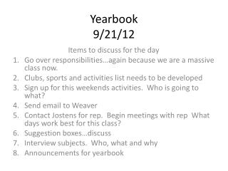 Yearbook  9/21/12