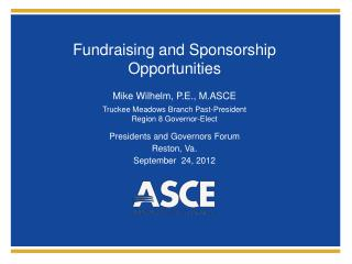 Fundraising and Sponsorship Opportunities