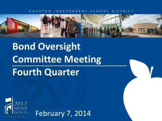 Bond Oversight  Committee Meeting  Fourth Quarter