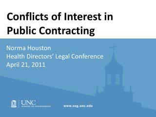 Norma Houston Health Directors' Legal Conference April 21, 2011