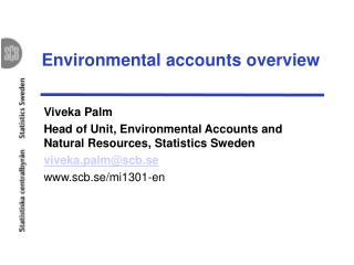 Environmental accounts overview