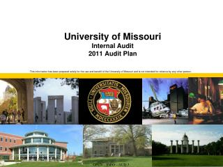University of Missouri Internal Audit 2011 Audit Plan