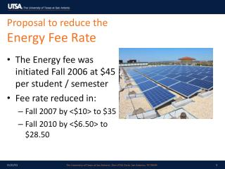 Proposal to reduce the  Energy Fee Rate