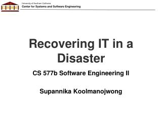 Recovering IT in a Disaster