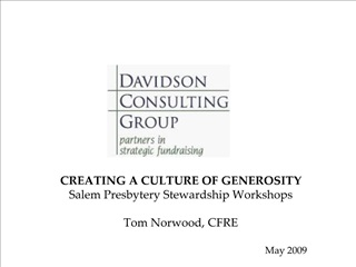 creating a culture of generosity salem presbytery stewardship workshops  tom norwood, cfre