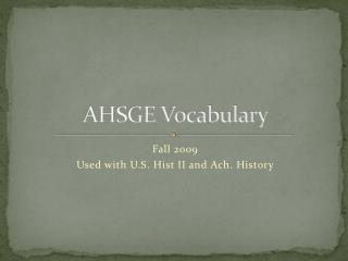 AHSGE Vocabulary