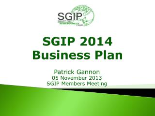 SGIP 2014 Business Plan
