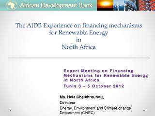 The AfDB Experience  on  financing mechanisms  for Renewable Energy  in  North Africa