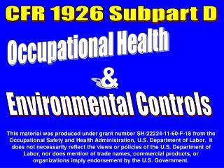 CFR 1926 Subpart D