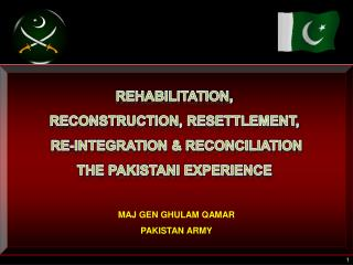 REHABILITATION,  RECONSTRUCTION, RESETTLEMENT,  RE-INTEGRATION & RECONCILIATION THE PAKISTANI EXPERIENCE  MAJ GEN GHULA