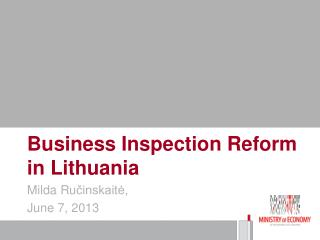 Business Inspection Reform in Lithuania