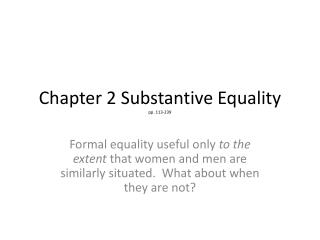 Chapter 2 Substantive Equality pp. 113-239
