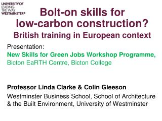 Bolt-on skills for  low-carbon construction? British training in European context