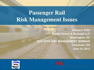 Passenger Rail Risk Management Issues