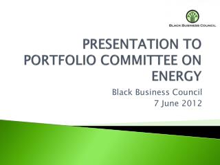 PRESENTATION TO   PORTFOLIO COMMITTEE ON  ENERGY