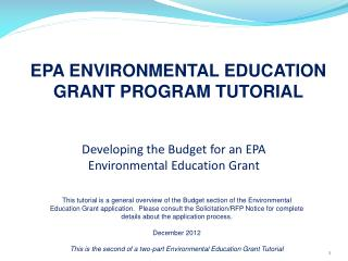 Developing the Budget for an EPA Environmental Education Grant