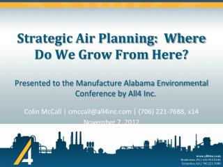 Strategic Air Planning:  Where Do We Grow From Here?