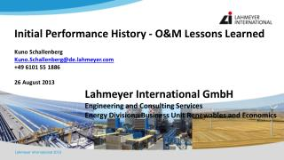 Lahmeyer International GmbH Engineering and Consulting Services  Energy Division;  Business Unit Renewables and Economi