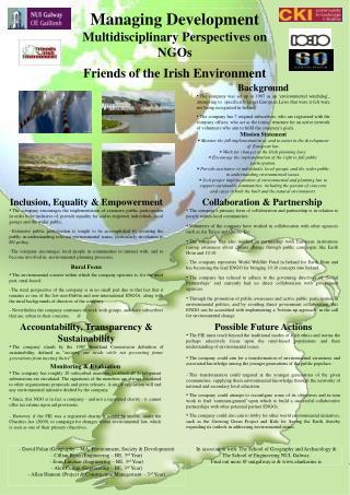 Managing Development Multidisciplinary Perspectives on NGOs