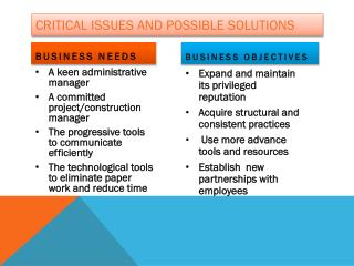 Critical Issues and possible solutions