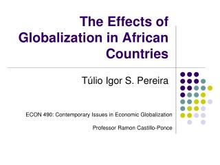 The Effects of Globalization in African Countries