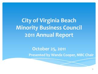 City of Virginia Beach  Minority Business Council   2011 Annual Report